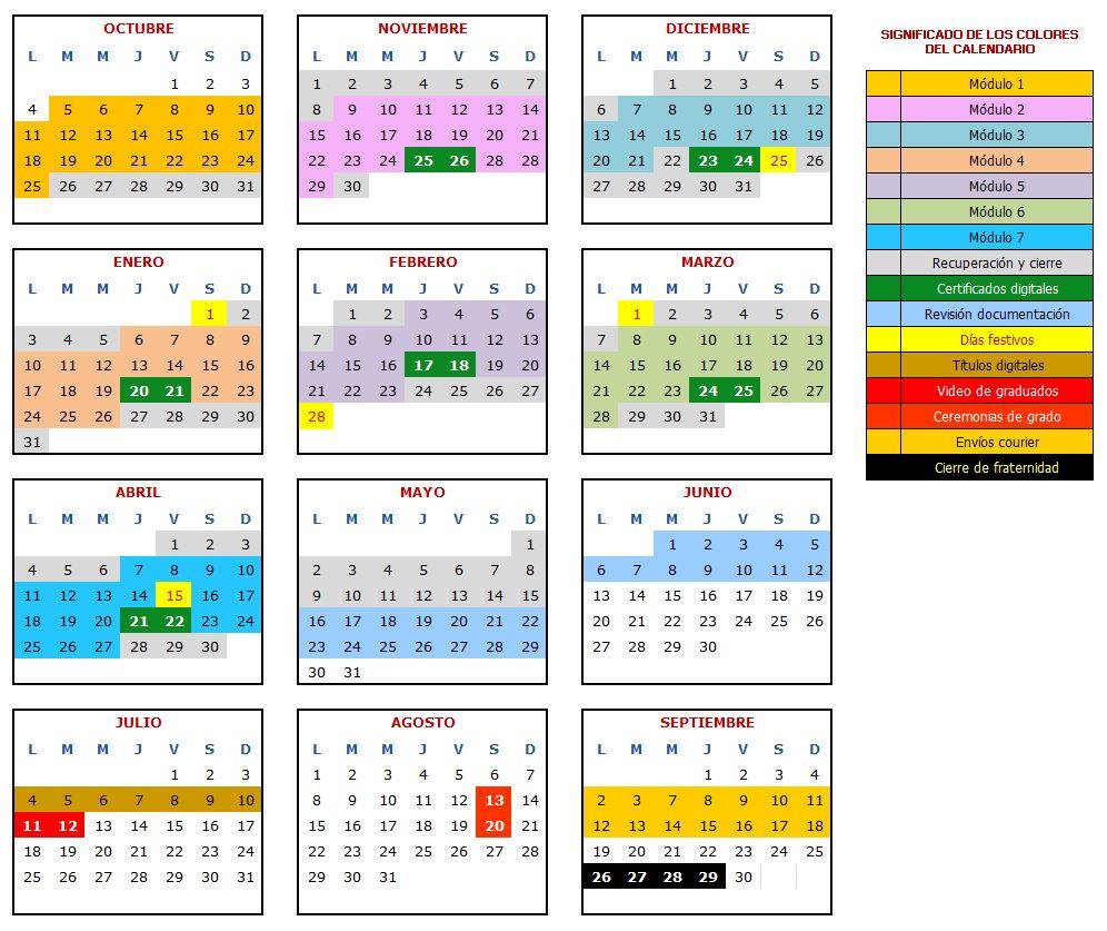 Calendario académicode la fraternidad