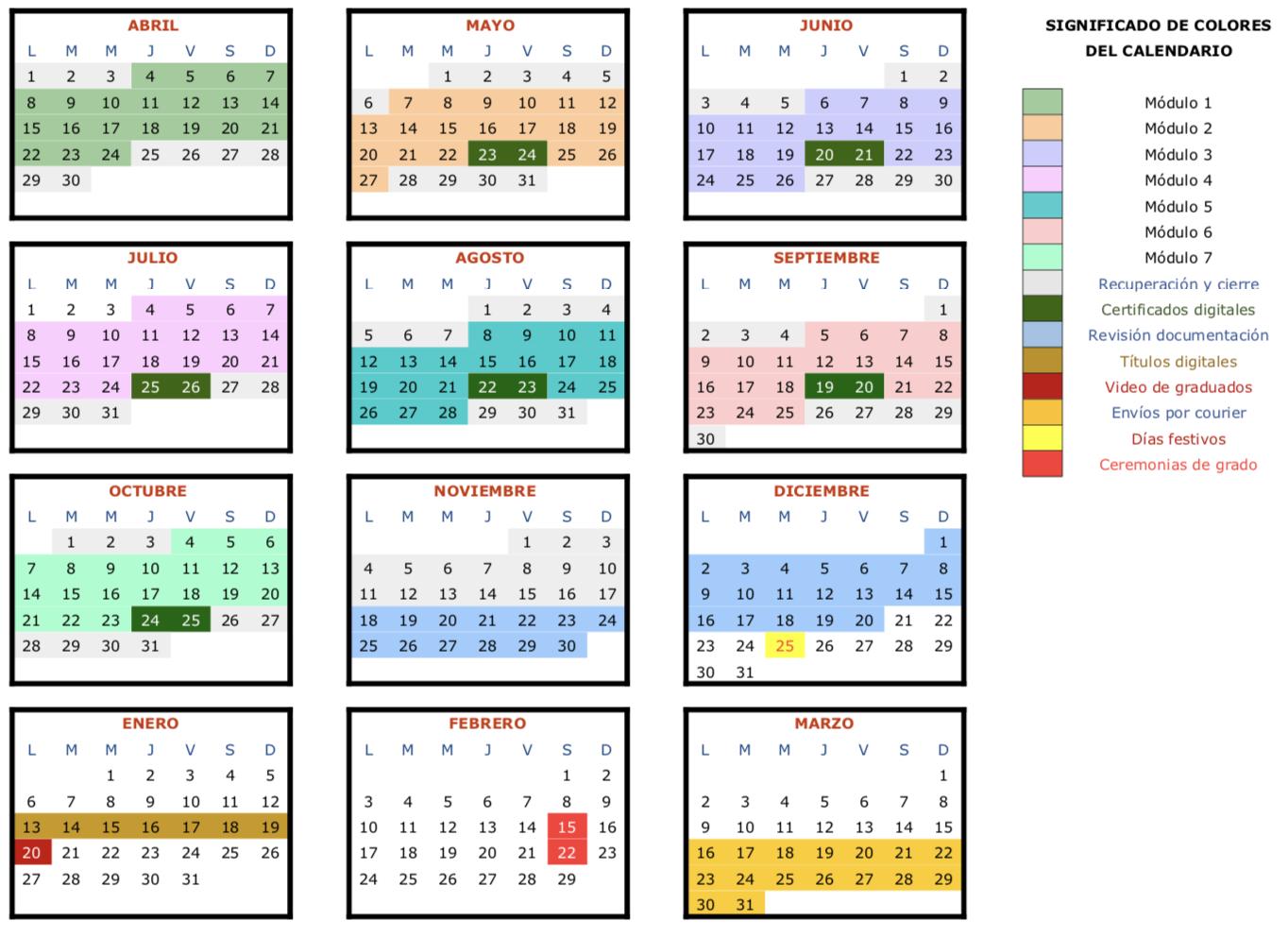 Calendario edición abril 2019