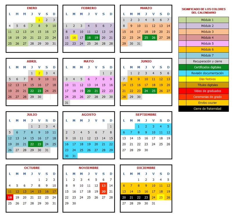 Calendario edición octubre 2019